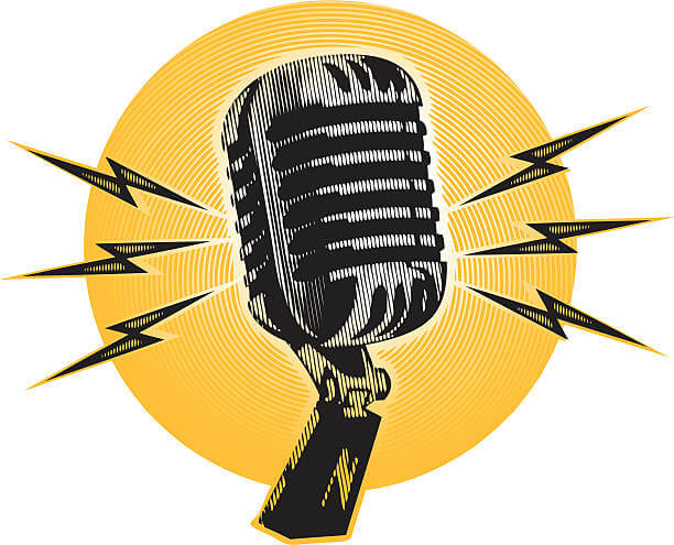Yellow background microphone