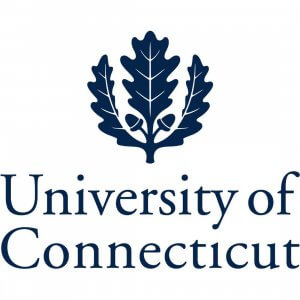 University of Connecticut in dark blue with a three leaf seal above the text.