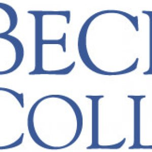 Becker College's logo in a dark blue color and their traditional shield.